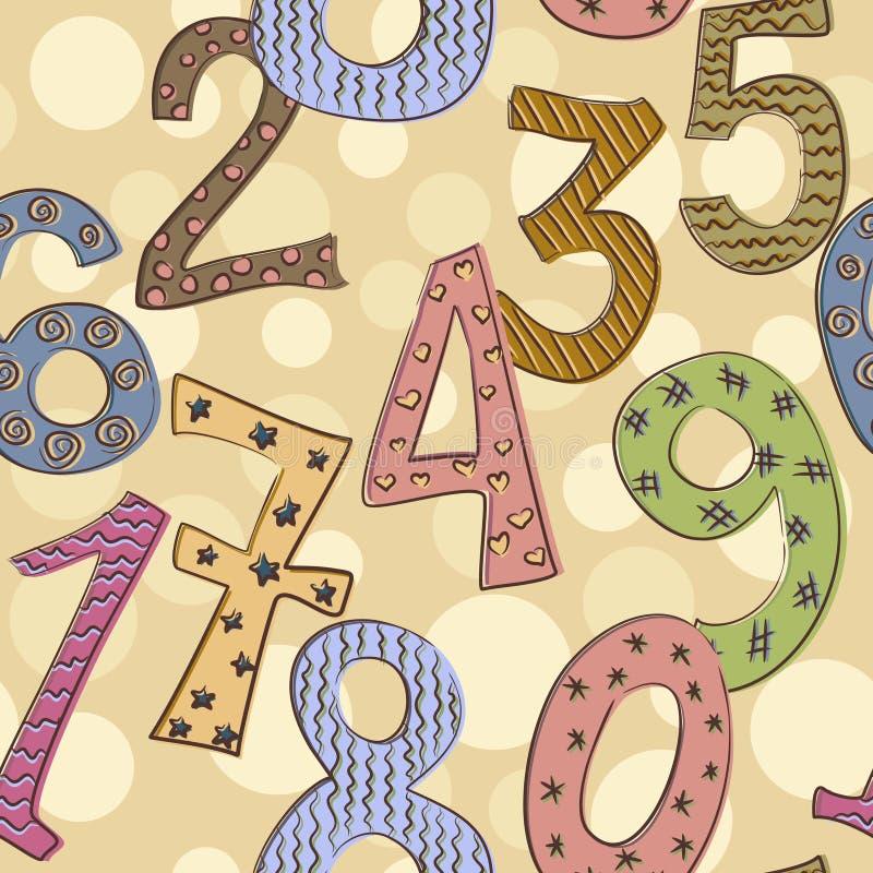 Nahtloses Muster der netten Zahlen vektor abbildung