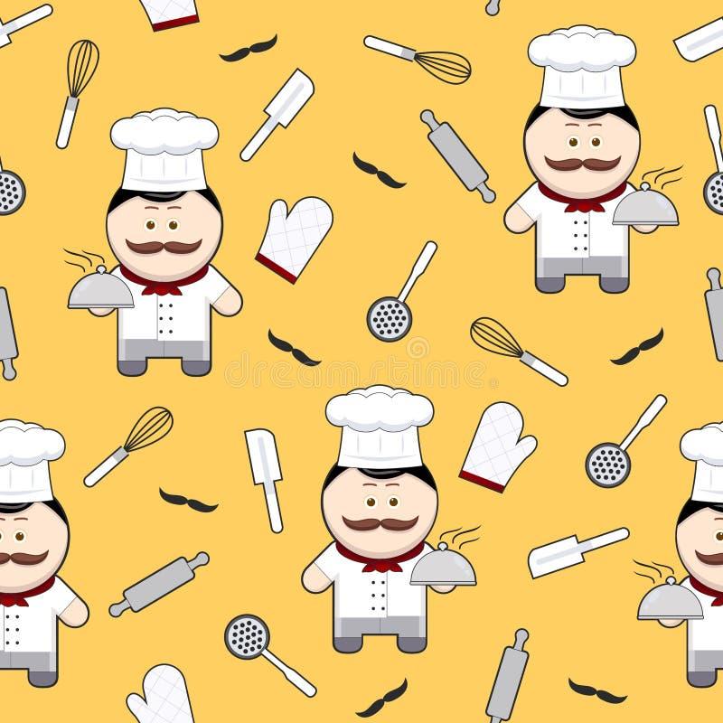 Nahtloses Muster der netten Zeichentrickfilm-Figur des Chefs auf gelbem Hintergrund, Chef mit dem Schnurrbart und Küchengeräten stock abbildung