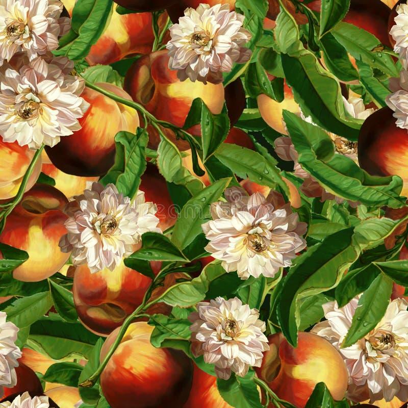 Nahtloses Muster in der niederländischen Art Szenische Pflaume in der digitalen Kunst und in den Blättern, Pfingstrose, Schmetter vektor abbildung