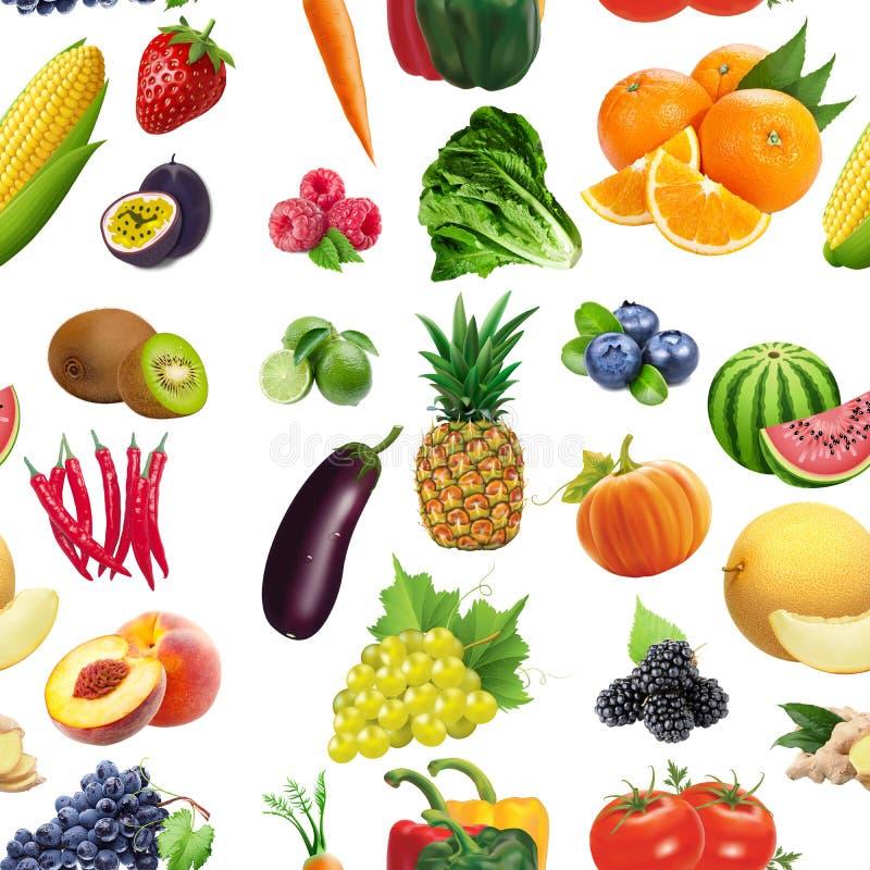 Nahtloses Muster der Obst und Gemüse stockbilder
