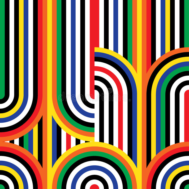 Nahtloses Muster der OPkunst des abstrakten Vektors Bunte Discoverzierung vektor abbildung