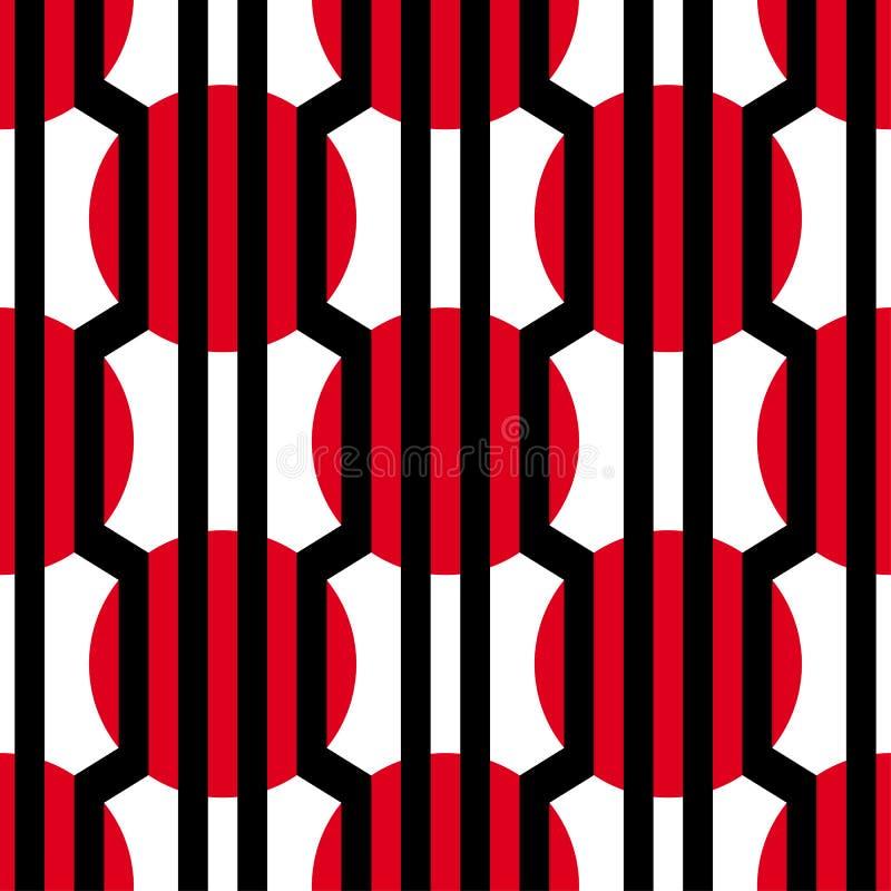 Nahtloses Muster der OPkunst des abstrakten Vektors Bunte grafische Verzierung lizenzfreie abbildung