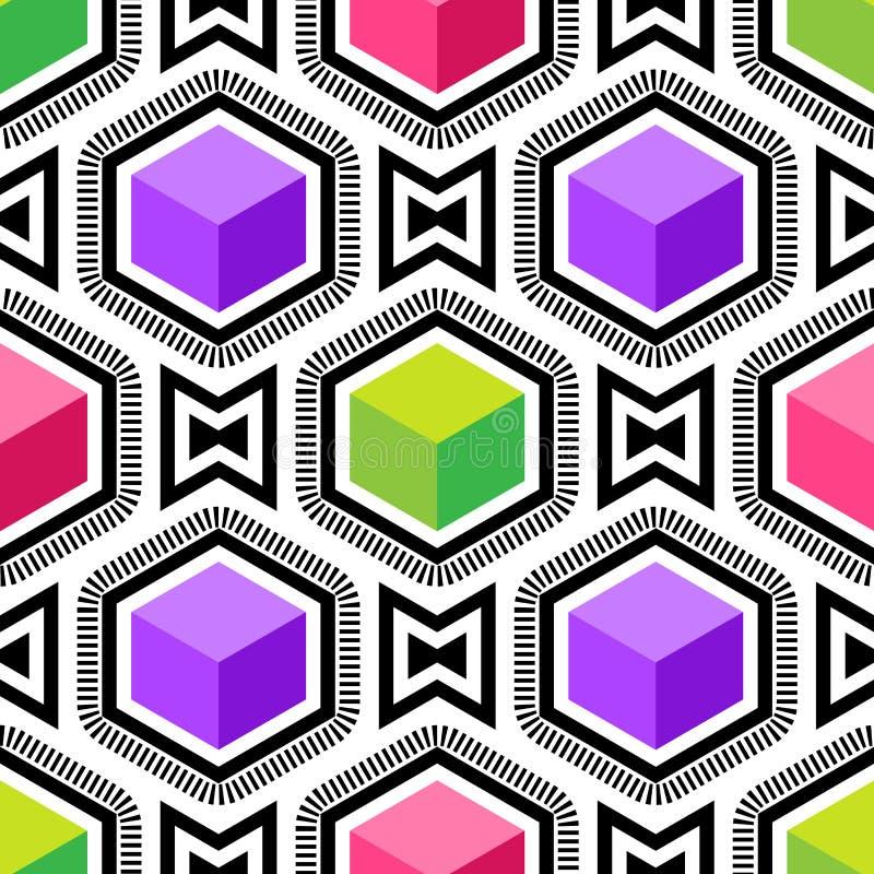 Nahtloses Muster der OPkunst des abstrakten Vektors Bunte Pop-Art, grafische Verzierung Optische Illusion stock abbildung