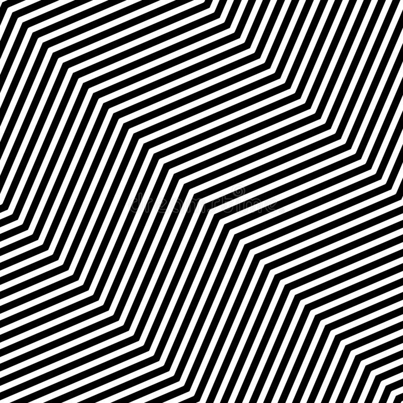 Nahtloses Muster der OPkunst des abstrakten Vektors Einfarbige grafische Schwarzweiss-Verzierung Gestreifte optische Täuschung, d lizenzfreie abbildung