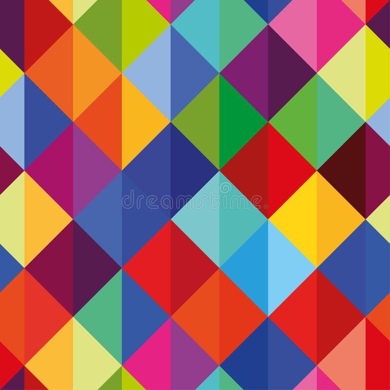 Nahtloses Muster der OPkunst des abstrakten Vektors Farbpop-art, geometrische Rautenverzierung Optische Illusion lizenzfreie abbildung