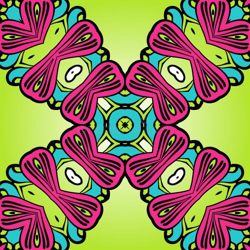 Nahtloses Muster der orientalischen Art im Rosa und in den grünen Farben vektor abbildung
