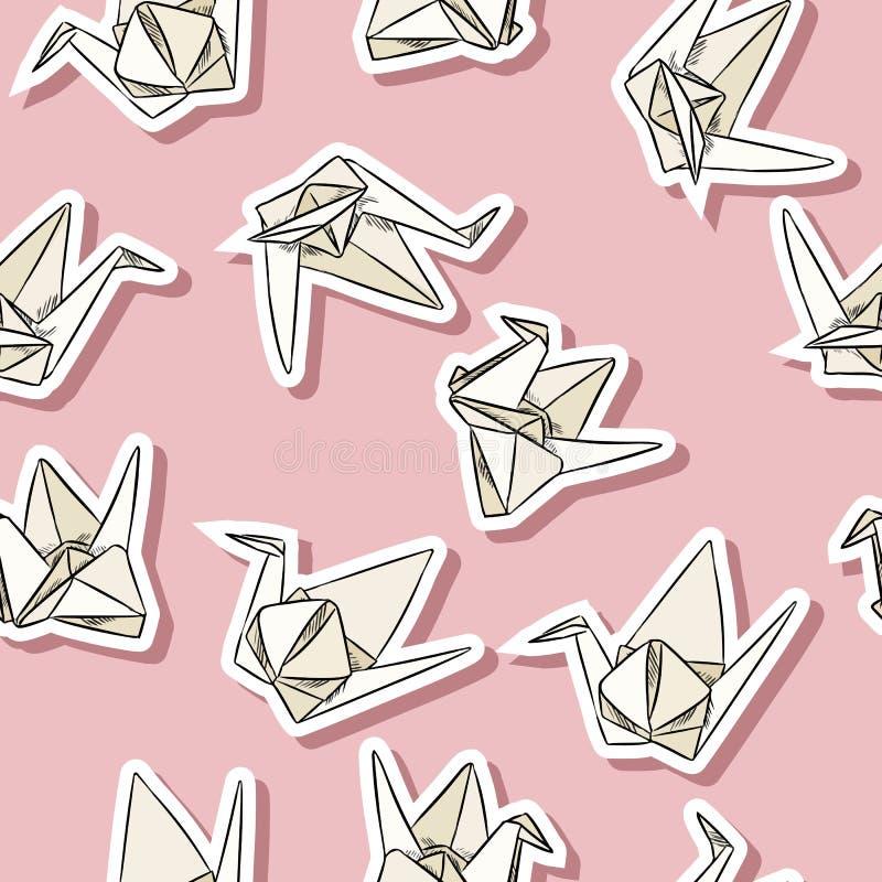 Nahtloses Muster der Origamipapierschwanhandgezogenen Aufkleber in den Pastellfarben stock abbildung