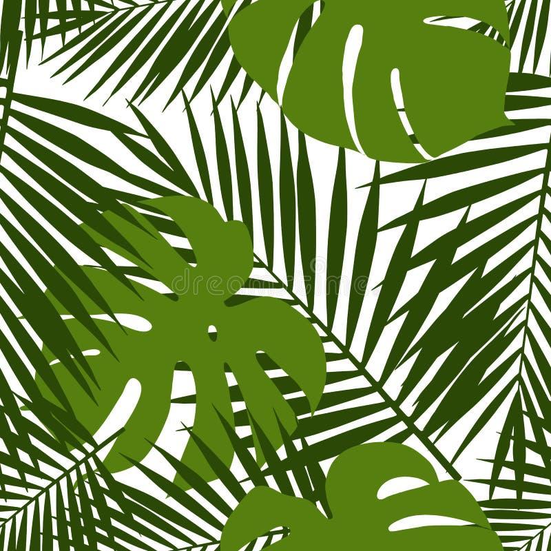Nahtloses Muster der Palmblatt- und monsteraschattenbilder Tropische Blätter stock abbildung