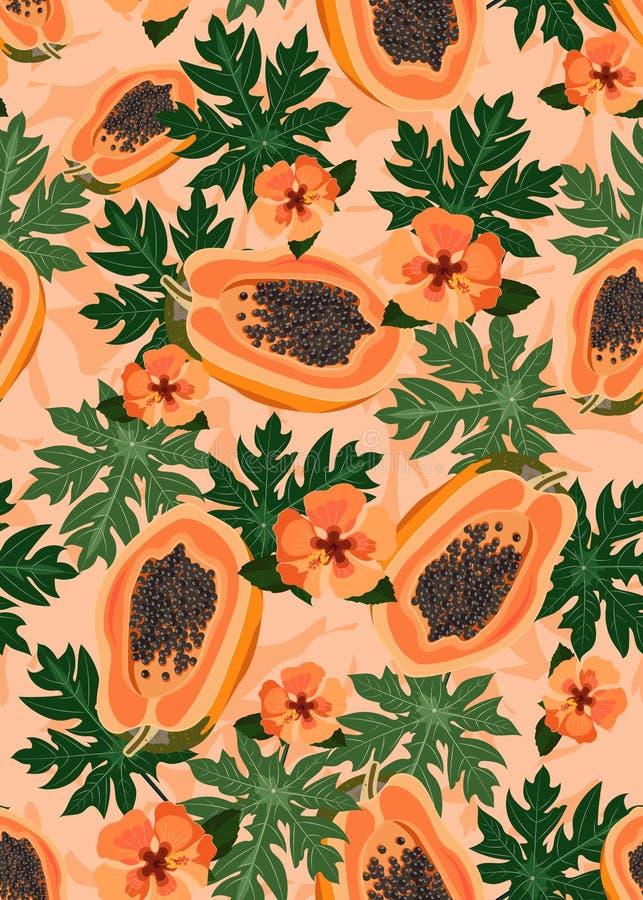Nahtloses Muster der Papayafrüchte auf orange Pastellhintergrund mit Blättern und orange Hibiscusblume, neues biologisches Lebens stock abbildung