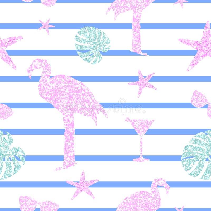 Nahtloses Muster der Pastellsommerfunkeln-Elemente Flamingo, monstera Bl?tter, Cocktails und Sonnenbrille Modisches glänzendes stock abbildung