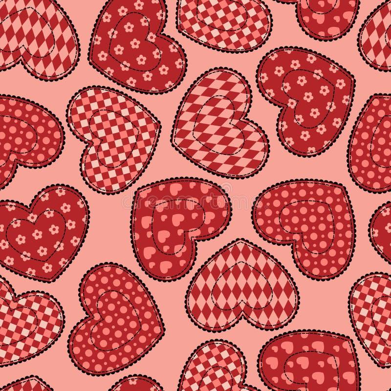 Nahtloses Muster Der Patchworkinneren. Stockbild