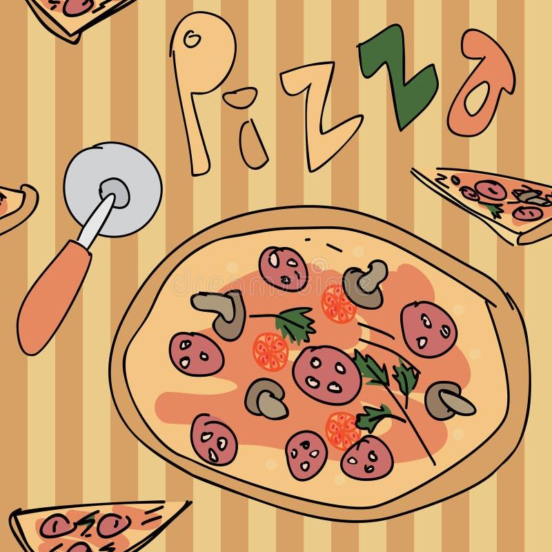 Nahtloses Muster der Pizza vektor abbildung