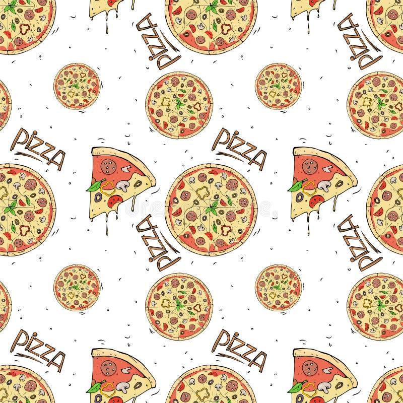 Nahtloses Muster der Pizza und der Bestandteile auf weißem Hintergrund vektor abbildung