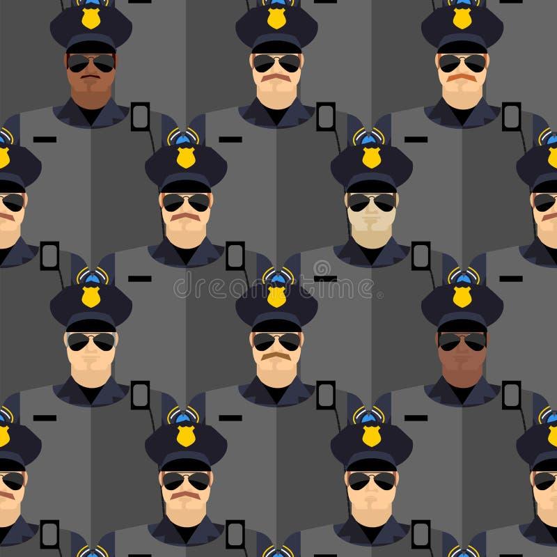 Nahtloses Muster der Polizeibeamten Polizei steht Schutz lizenzfreie abbildung