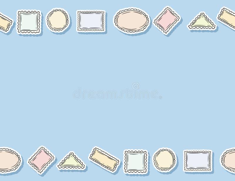 Nahtloses Muster der Postenstempel-Aufkleber Bunter Aufkleberhintergrund Buchstabeformat stock abbildung