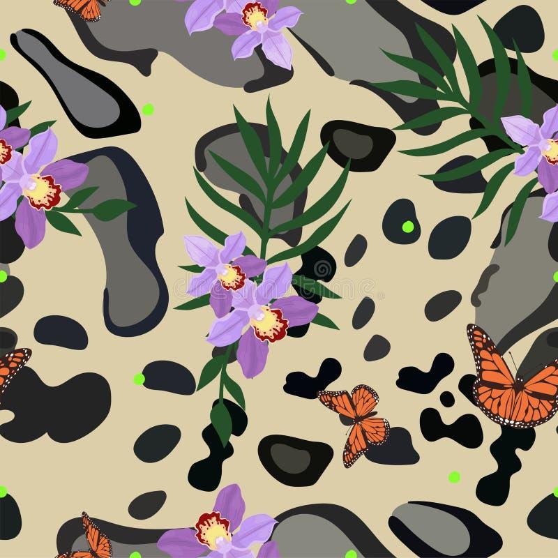 Nahtloses Muster der rauchigen Leopardhaut kombiniert mit Orchidee, Palmblättern und Monarchfaltern Luxuriöser Modedruck Vektor vektor abbildung