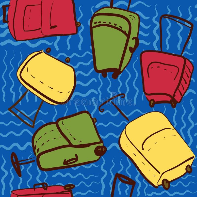 Nahtloses Muster der Reise mit farbigem Koffer illustrati vektor abbildung