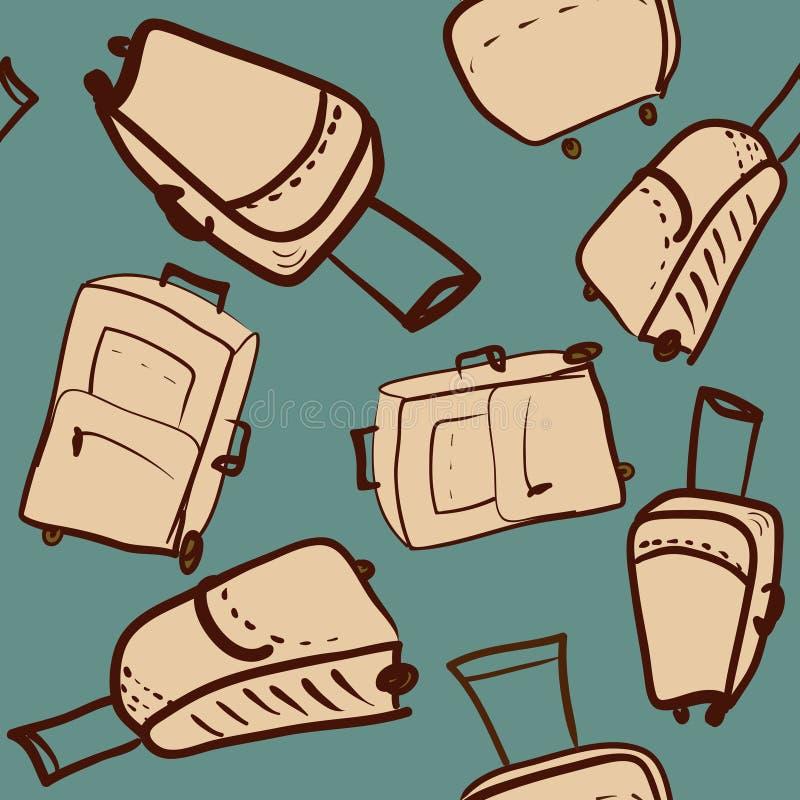 Nahtloses Muster der Reise mit verschiedenen Koffern übergeben zeichnendes VE lizenzfreie abbildung
