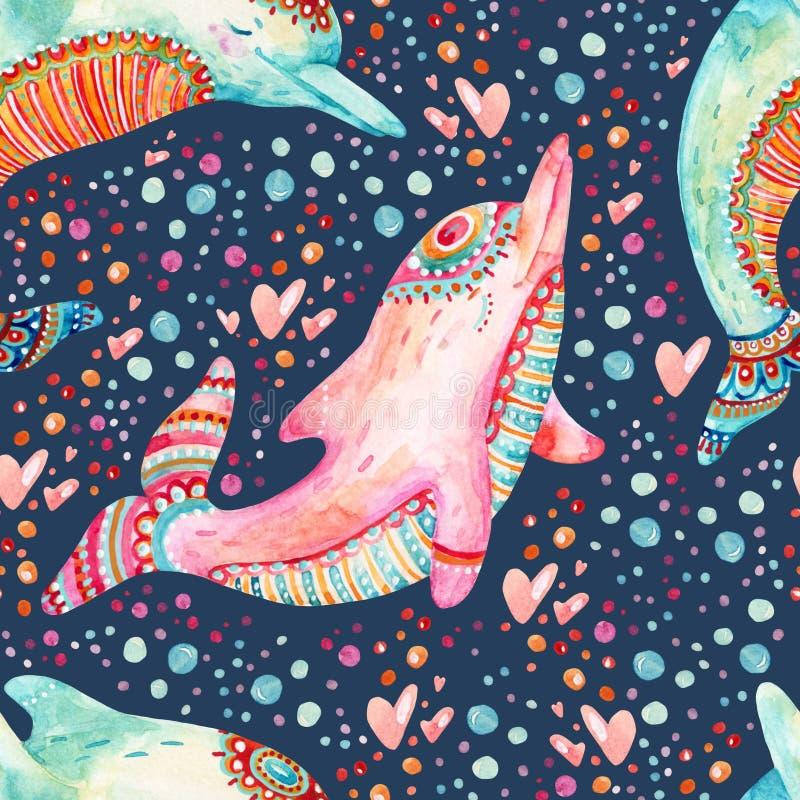 Nahtloses Muster der reizenden Delphine des Aquarells auf Hintergrund mit Blasen stock abbildung