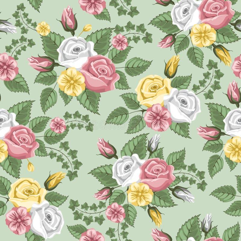 Nahtloses Muster der Retro- Blume - Rosen lizenzfreie abbildung