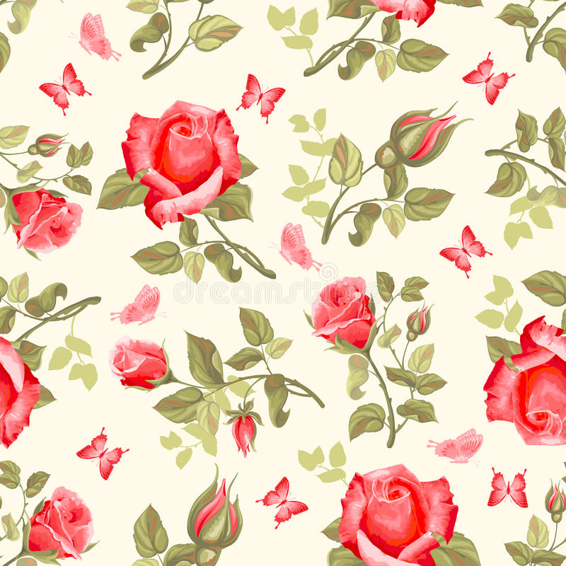 Nahtloses Muster der Retro- Blume - Rosen stock abbildung