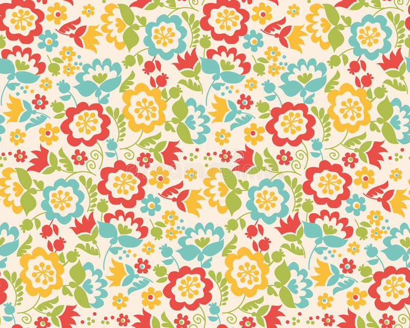 Nahtloses Muster der Retrostilsommer-Blume stock abbildung