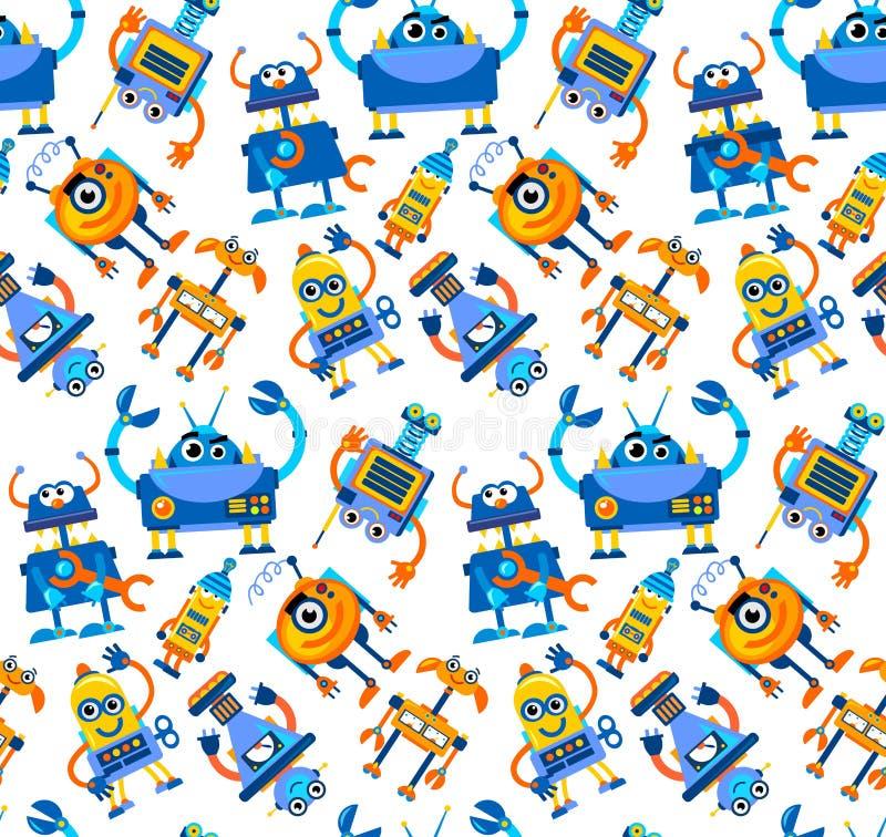 Nahtloses Muster der Roboter auf weißem Hintergrund Buntes futuristi stock abbildung