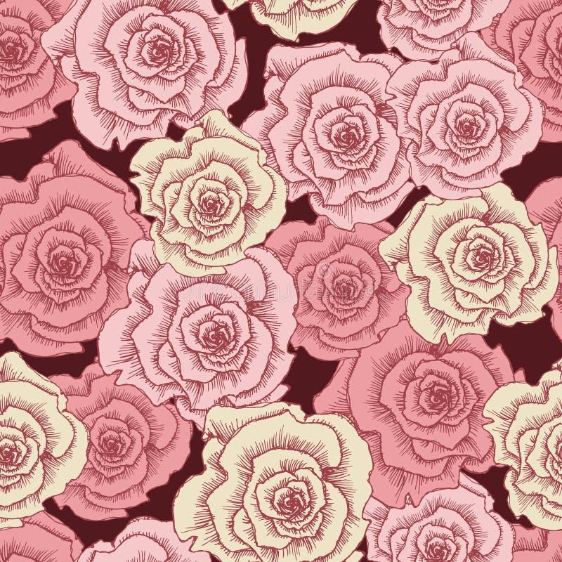 Nahtloses Muster der rosa Rosen der Weinlese vektor abbildung