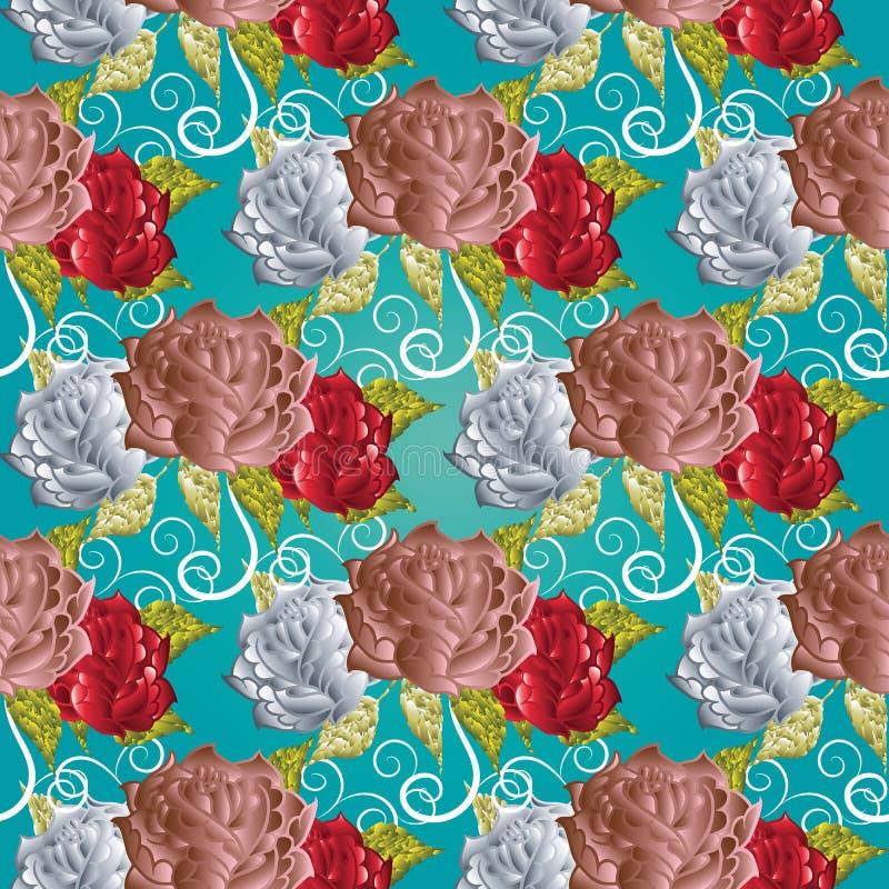Nahtloses Muster der Rosen Türkisblumenvektorhintergrund Eleg lizenzfreie abbildung