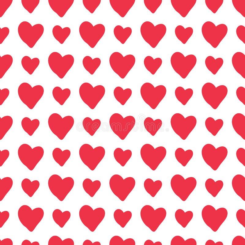 Nahtloses Muster der roten Herzen des Vektors von Hand gezeichneten stock abbildung