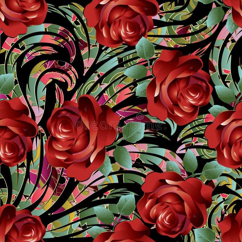 nahtloses Muster der roten Rosen 3d Vektorblumenhintergrund wallpape lizenzfreie abbildung
