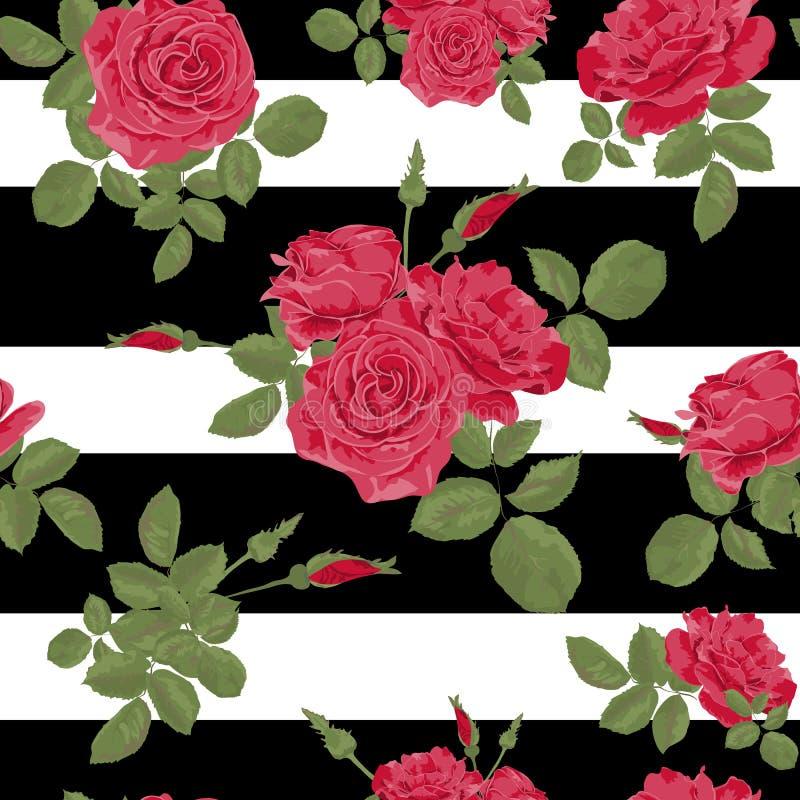 Nahtloses Muster der roten Rosen der Blume mit horizontalen Streifen lizenzfreie abbildung