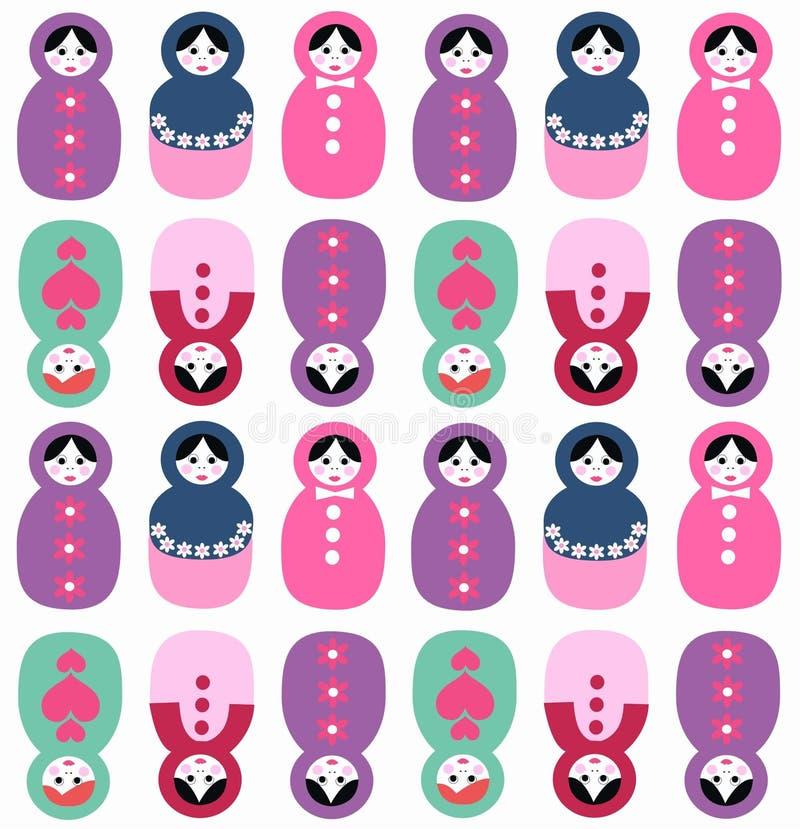 Nahtloses Muster der russischen Puppen lizenzfreie abbildung