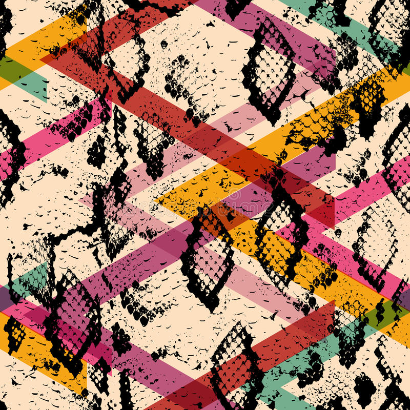 Nahtloses Muster der Schlangenhaut-Beschaffenheit schwarze magentarote orange rosa purpurrote Blaupause, ethnische moderne modisc vektor abbildung