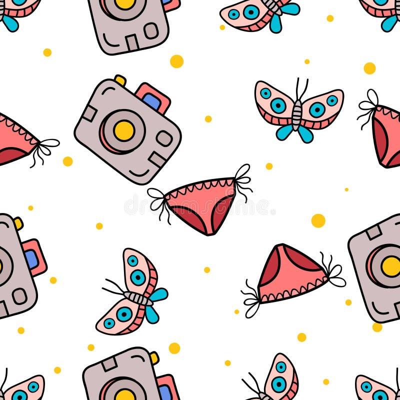 Nahtloses Muster der Schmetterlings-, Pocketkamera- und Bikinihand, die in nettes colorfull gezeichnet wird, kritzeln Vektor vektor abbildung