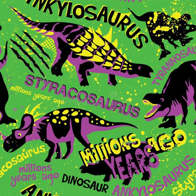 Nahtloses Muster der Schmutzart mit Dino auf einem grünen Hintergrund Hintergrund für T-Shirts, Papier, Gewebe und Gewebe Netter  stock abbildung