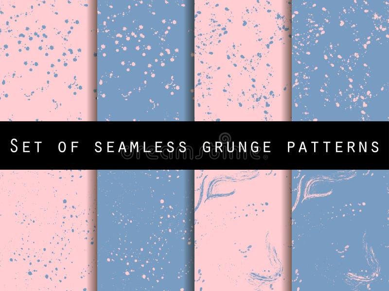 Nahtloses Muster in der Schmutzart Rosenquarz- und Ruheveilchenfarben Auch im corel abgehobenen Betrag vektor abbildung