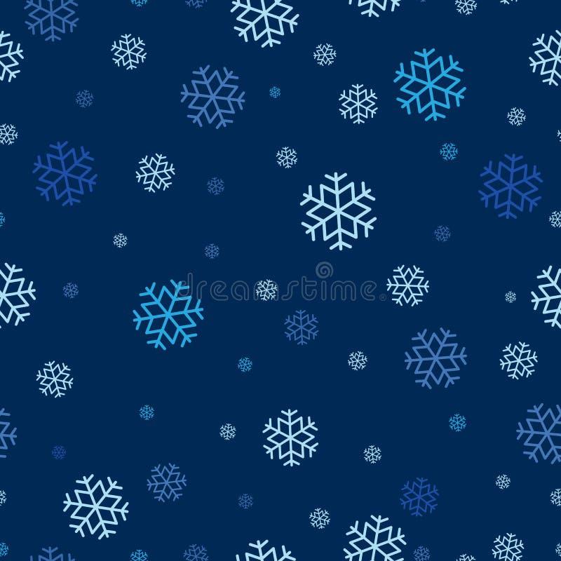Nahtloses Muster der Schneeflocke wiederholbar, ununterbrochener Hintergrund für Feiertag, Weihnachtsmotivfeier lizenzfreie abbildung