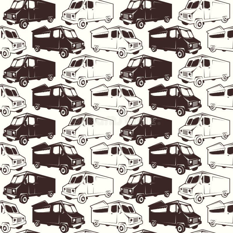 Nahtloses Muster der Schnellimbissautolieferung stock abbildung