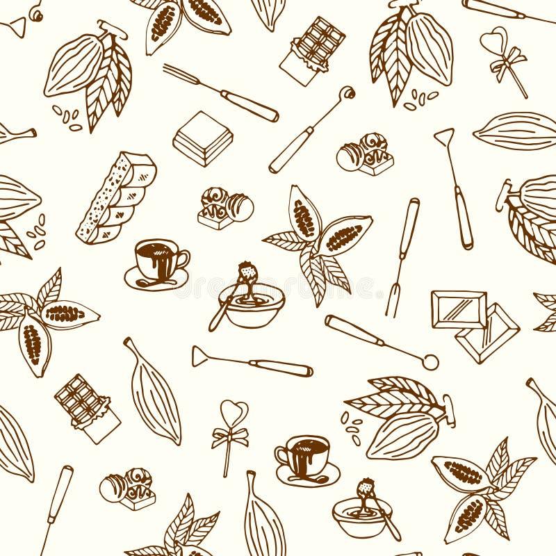 Nahtloses Muster der Schokoladenkakao-Skizze Entwerfen Sie Menü für Restaurant, Shop, die Süßigkeiten, kulinarisch, Café, Cafeter vektor abbildung