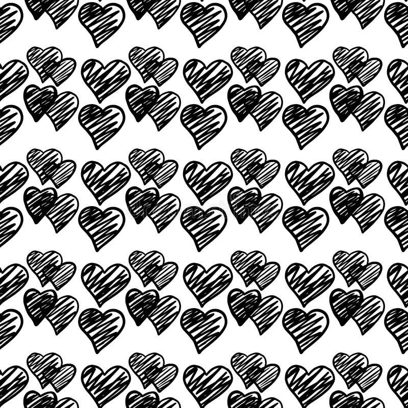 Nahtloses Muster der schwarze Handgezogenen geometrischen Herzen auf weißem Hintergrund lizenzfreie stockfotos