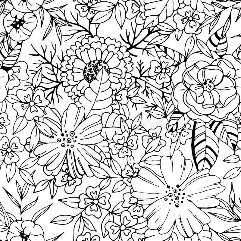 Nahtloses Muster der Schwarzweiss-Blume lizenzfreie abbildung