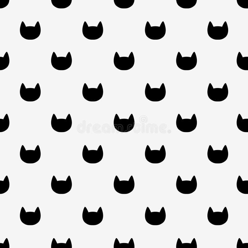 Nahtloses Muster der Schwarzweiss-Katzenköpfe lizenzfreie abbildung