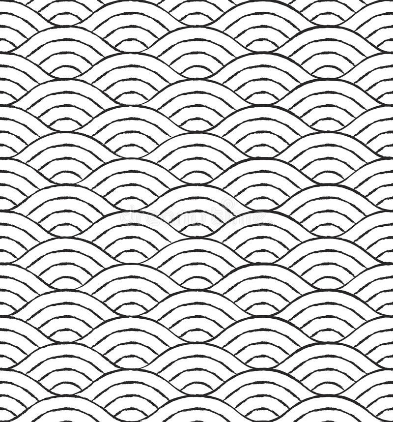 Nahtloses Muster der Schwarzweiss-Wellen vektor abbildung