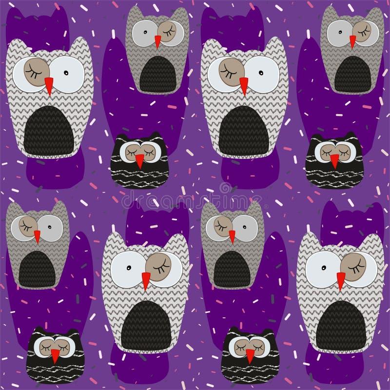 Nahtloses Muster der Schwestereulen auf einem Hintergrund verziert mit farbigem Konfettivektor stock abbildung