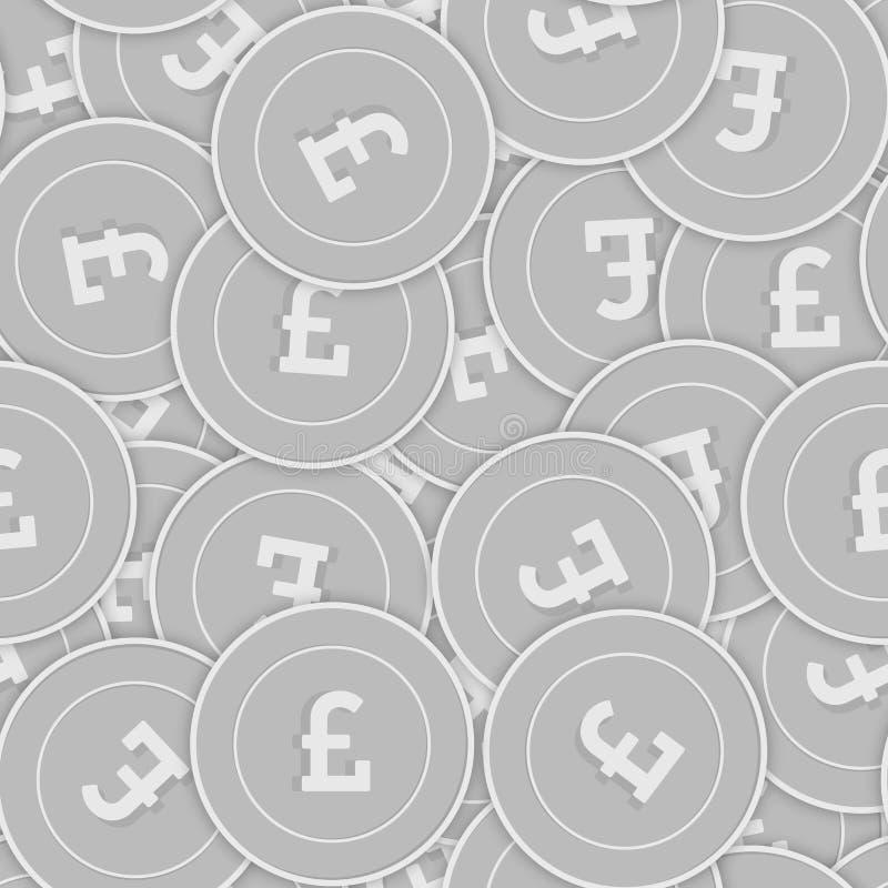 Nahtloses Muster der Silbermünzen des britischen Pfunds Splen stock abbildung