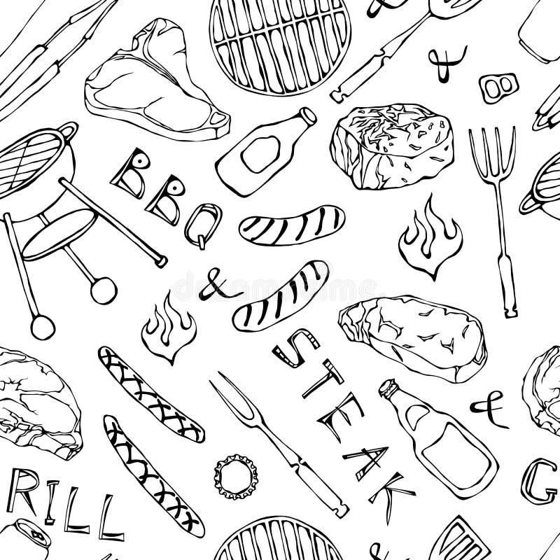 Nahtloses Muster der Sommer BBQ-Grill-Partei Bier-Dose, Flasche und Becher, Steak, Wurst, Grill-Gitter, Zangen, Gabel, Feuer, Ket lizenzfreie abbildung