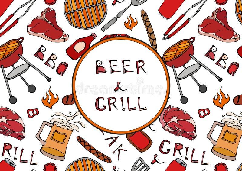 Nahtloses Muster der Sommer BBQ-Grill-Partei Bier, Steak, Wurst, Grill-Gitter, Zangen, Gabel, Feuer, Ketschup Hand gezeichneter V stock abbildung