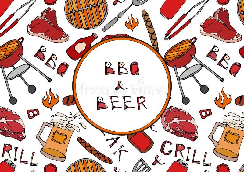 Nahtloses Muster der Sommer BBQ-Grill-Partei Bier, Steak, Wurst, Grill-Gitter, Zangen, Gabel, Feuer, Ketschup Hand gezeichneter V lizenzfreie abbildung