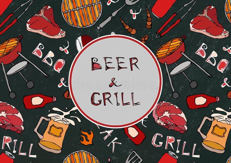 Nahtloses Muster der Sommer BBQ-Grill-Partei Bier, Steak, Wurst, Grill-Gitter, Zangen, Gabel, Feuer, Ketschup Schwarzes Brett Bac stock abbildung